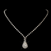 Silver Clear Teardrop Rhinestone Necklace 0201