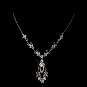 Antique Silver Rhodium Rhinestone Necklace 0314