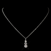 Silver Clear Round Rhinestone Necklace 0532