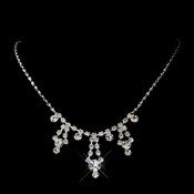 Silver Clear Round Rhinestone Necklace 0930