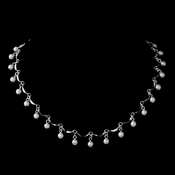 Silver White Pearl Dangle Necklace 0991