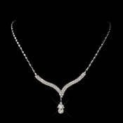 Silver Clear Teardrop Rhinestone Necklace 1031