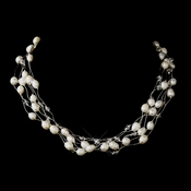 Silver Freshwater Pearl & Swarovski Crystal Bead Necklace 1210