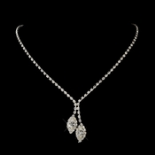 Silver Clear Marquise Rhinestone Necklace 1815