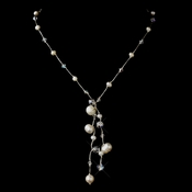 Silver Freshwater Pearl & Swarovski Crystal Bead Thai Silk Necklace 2010