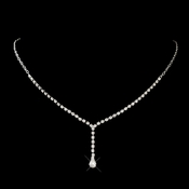 Silver Clear Teardrop Dangle Rhinestone Necklace 2022