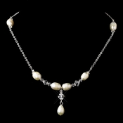 Silver White Glass Pearl & Swarovski Crystal Bead Necklace 2060