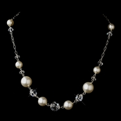 Silver White Glass Pearl & Swarovski Crystal Bead Necklace 2064