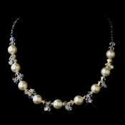 Silver White Glass Pearl & Swarovski Crystal Bead Necklace 2101