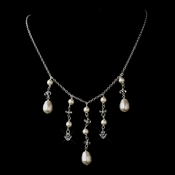 Silver White Glass Pearl & Swarovski Crystal Bead Dangle Necklace 2124