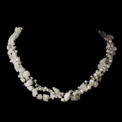 Silver Freshwater Pearl & Swarovski Crystal Bead Necklace 2621