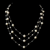Silver Freshwater Pearl & Swarovski Crystal Bead Necklace 2810