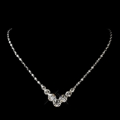 Silver Clear Graduated Round Rhinestone Necklace 5116