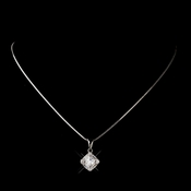Silver Clear CZ Crystal Necklace 5562