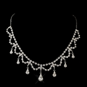 Silver Clear Teardrop Rhinestone Necklace 5864