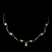 Gold Clear Marquise Rhinestone Necklace 5950