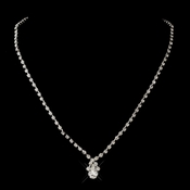 Silver Clear Round & Teardrop Necklace 6177