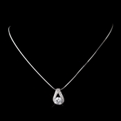 Antique Silver Rhodium Clear CZ Crystal Necklace 6653