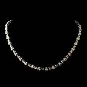 Silver Clear Round Rhinestone Necklace 8194