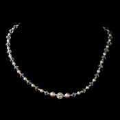 Silver White Czech Glass Pearl, Swarovski Crystal Bead, & Rhinestone Necklace 8604
