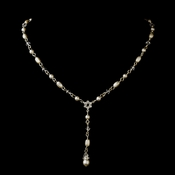 Silver White Czech Glass Pearl, Swarovski Crystal Bead & Rhinestone Necklace 8606