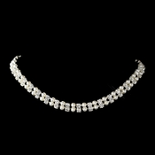 Silver White Pearl & Clear Rhinestone Necklace 9342