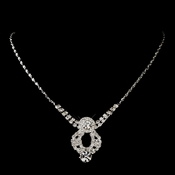 Silver Clear Round Rhinestone Necklace 9800