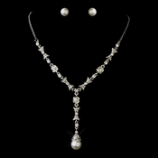 Antique Silver Rhodium White Pearl and Clear Rhinestone Necklace & Earrings Jewelry Set 0001