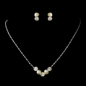 Silver Ivory Pearl & Clear Round Rhinestone Necklace & Earrings Jewelry Set 0428