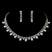Silver White Pearl & Clear Round Rhinestone Necklace & Earrings Jewelry Set 8018