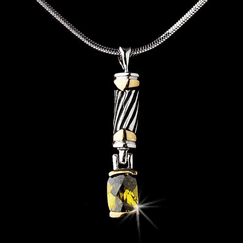 Stunning Silver Designer Inspired Yellow Crystal Pendant Necklace 4082