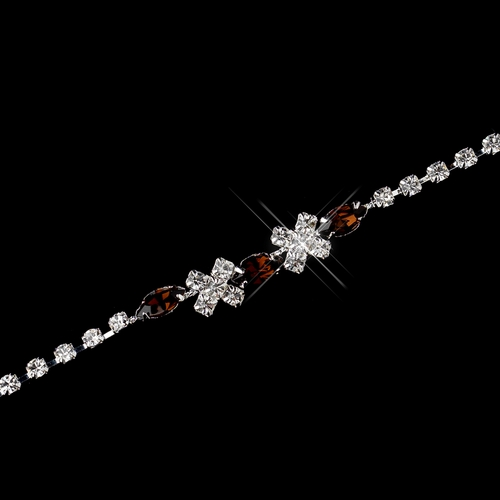 Silver Brown & Clear Marquise Rhinestone Bracelet 3995
