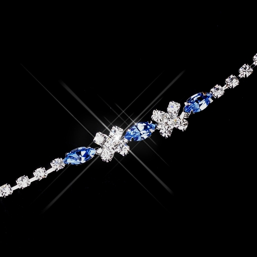 Silver Light Blue & Clear Marquise Rhinestone Bracelet 3995