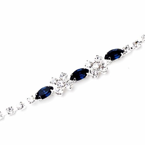 Silver Navy & Clear Marquise Rhinestone Bracelet 3995