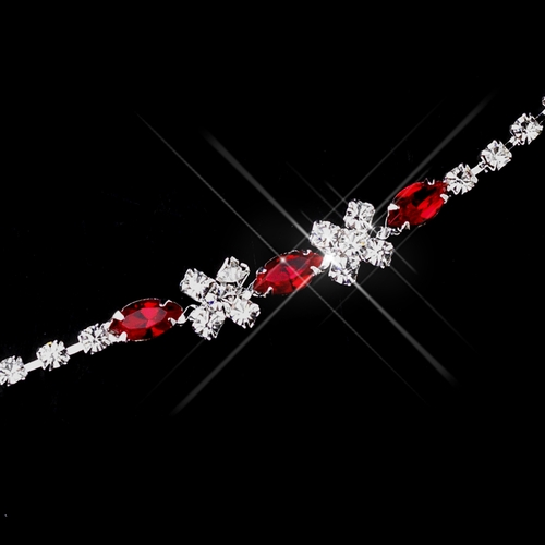 Silver Red & Clear Marquise Rhinestone Bracelet 3995
