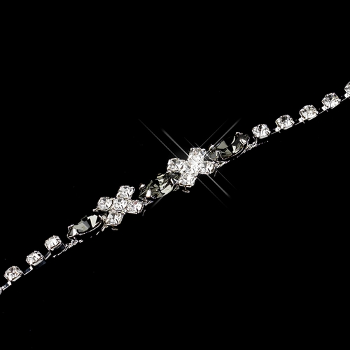Silver Smoked & Clear Marquise Rhinestone Bracelet 3995