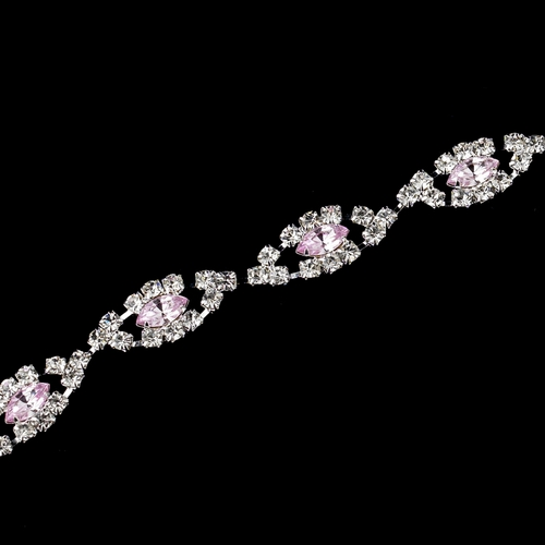 Silver Pink & Clear Marquise Rhinestone Bracelet 4054