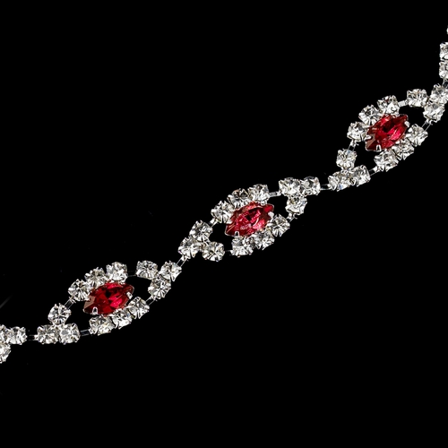 Silver Red & Clear Marquise Rhinestone Bracelet 4054