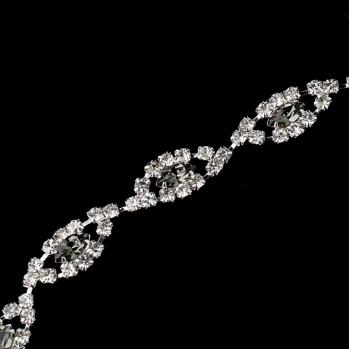 Silver Smoked & Clear Marquise Rhinestone Bracelet 4054