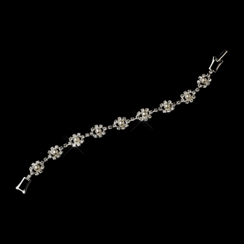 Silver White Pearl & Clear Crystal Floral Bracelet 5789