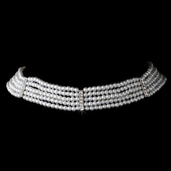 5 Row Choker Pearl Necklace N 602 Silver White