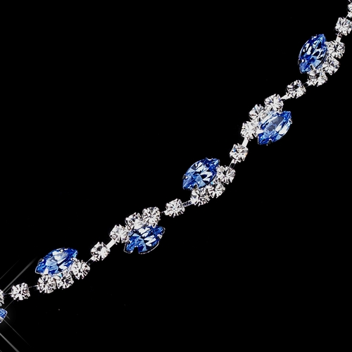 Silver Light Blue & Clear Marquise Rhinestone Bracelet 9344