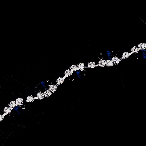 Silver Navy & Clear Marquise Rhinestone Bracelet 9344