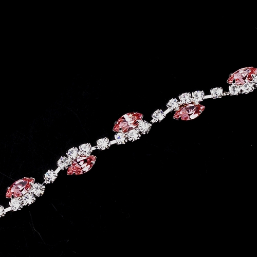 Silver Pink & Clear Marquise Rhinestone Bracelet 9344