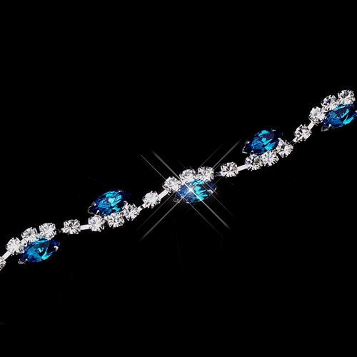 Silver Turquoise & Clear Marquise Rhinestone Bracelet 9344