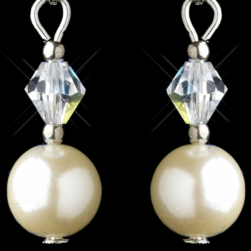 Silver Ivory Glass Pearl & Clear Swarovski Crystal Bead Earrings 0044