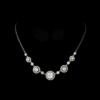 Gorgeous Silver Clear Cubic Zirconia Necklace N 2556
