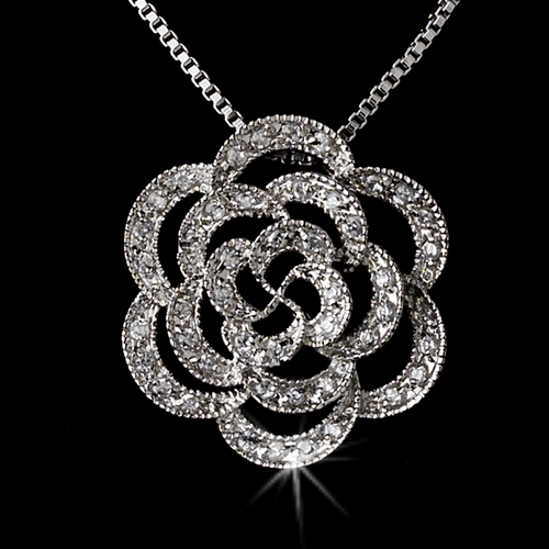 Beautilful Floral  Silver Clear Cubic Zirconia Necklace N 2606 ***Discontinued***