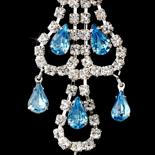 Silver Aqua & Clear Teardrop Rhinestone Chandelier Earrings 0106