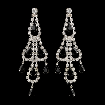 Silver Black & Clear Teardrop Rhinestone Chandelier Earrings 0106